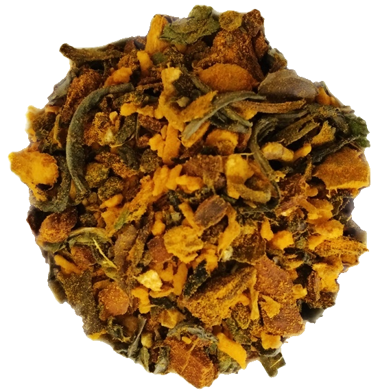 "Burn Baby Burn <span class=""subtitle"">Turmeric infused Spiced Green & White Tea Blend</span>"