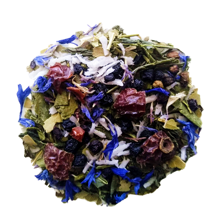 "Coco Blue <span class=""subtitle"">Coconut & Blueberry infused Green Tea</span>"