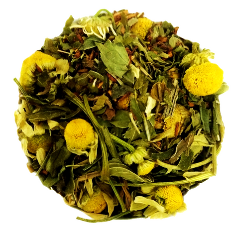 "Cozy Cuppa <span class=""subtitle"">Minty Chamomile Rooibos Blend infused with Vanilla</span>"