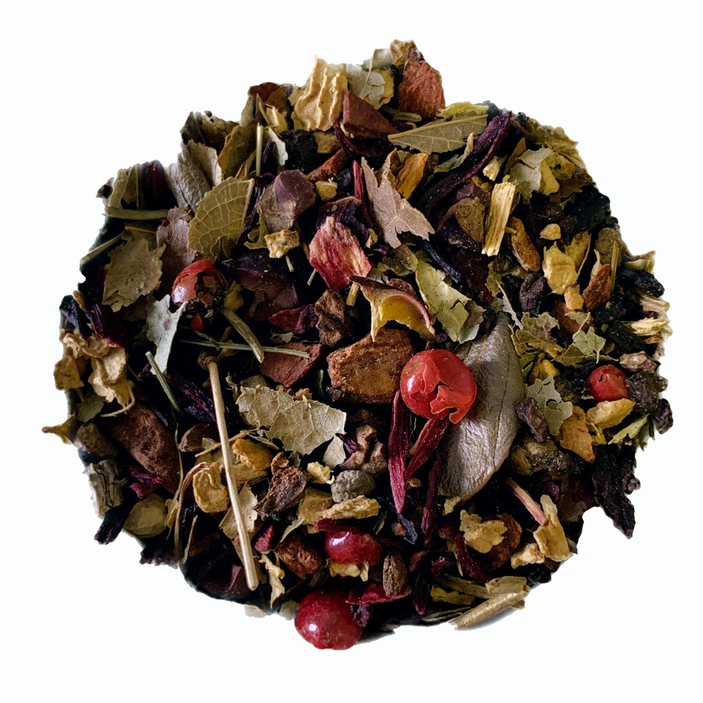 "Cranberry Spice <span class=""subtitle"">Cranberry infused Spiced Hibiscus Mix with Cacao</span>"
