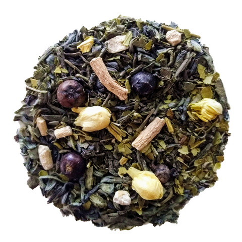 "Jasmine & Juniper <span class=""subtitle"">Jasmine Green Tea & Maté with Almond, Juniper & Ginseng</span>"