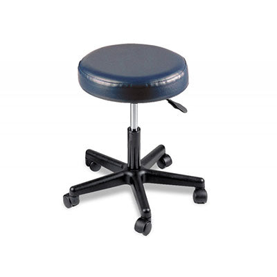 "Pneumatic mobile stool, no back, 18"" - 22"" H, blue upholstery"