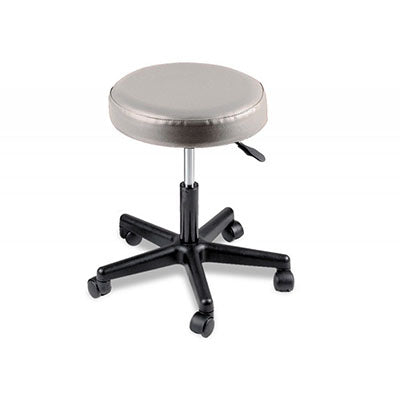 "Pneumatic mobile stool, no back, 18"" - 22"" H, gray upholstery"