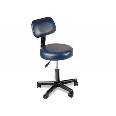 "Pneumatic mobile stool, with back, 18"" - 22"" H, blue upholstery"