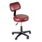 "Pneumatic mobile stool, with back, 18"" - 22"" H, burgundy upholstery"