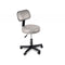 "Pneumatic mobile stool, with back, 18"" - 22"" H, gray upholstery"