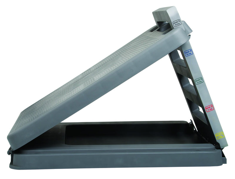 "FabStretch 4-Level Incline Board - Heavy Duty Plastic - 5, 15, 25, 35 Degree Elevation - 14"" x 14"" Surface"