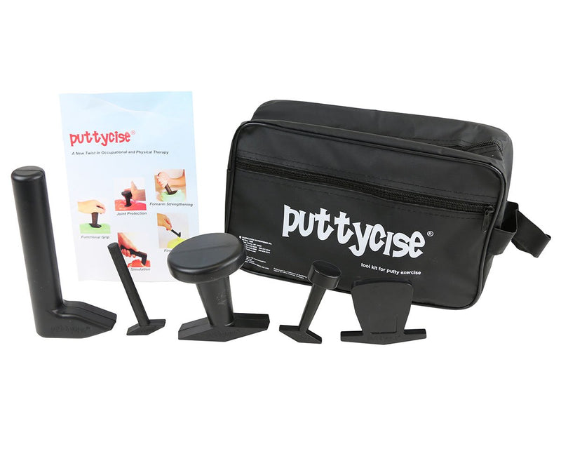 Puttycise Theraputty tool - 5-tool set (Knob, Peg, Key and Cap turn, L-bar), with bag