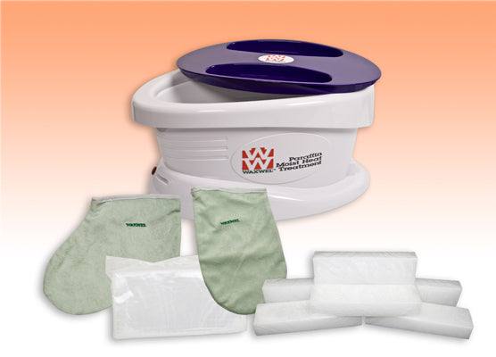 WaxWel Paraffin Bath - Standard Unit Includes: 100 Liners, 1 Mitt, 1 Bootie and 6 lb Peach Paraffin
