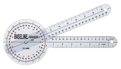 Baseline Plastic Goniometer - 360 Degree Head - 12 inch Arms, 25-pack