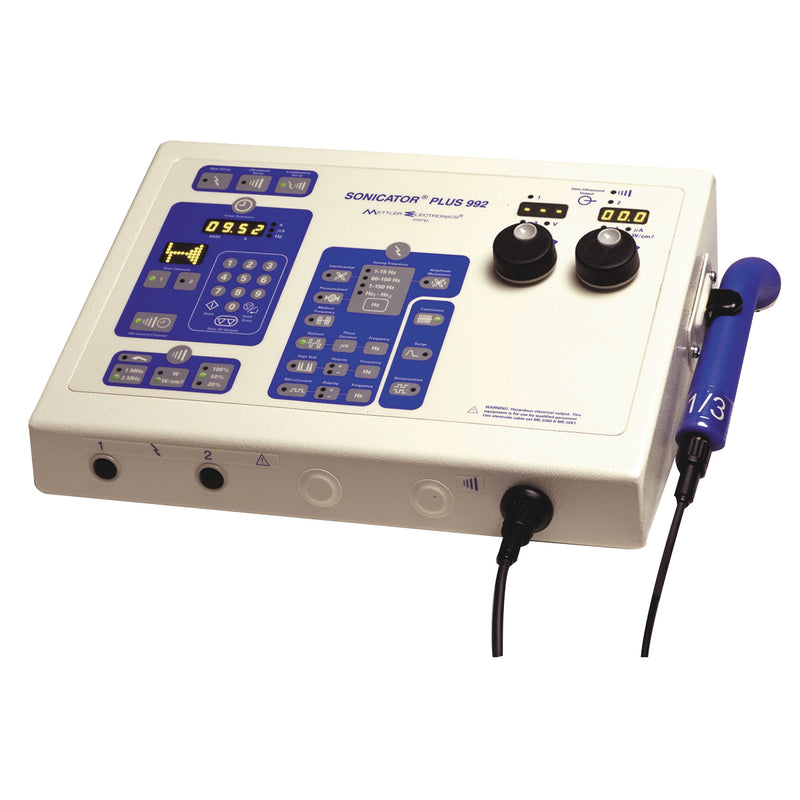 Mettler Sonicator Ultrasound / Stim - 992 - 2-channel with 1&3MHz, 5 cm head