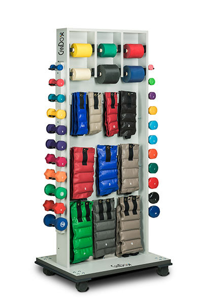 CanDo Weight and Mirror Rack with accessories (Cuff Weights, 50yd band set, dumbbells)