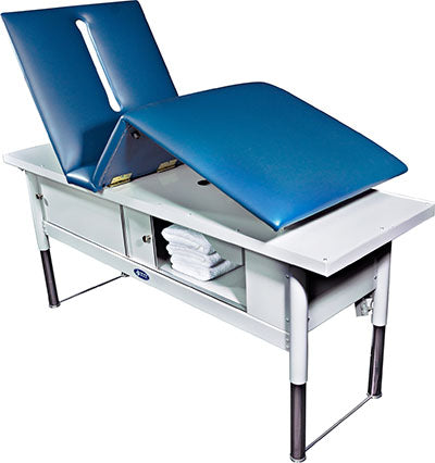 "Tri W-G Treatment Table, Motorized Hi-Lo, Raised Back/Knee, 28"" x 80"", 500 Ib capacity"