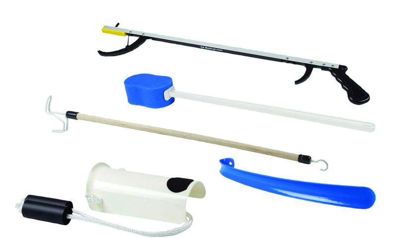 "FabLife Hip Kit: 26"" Reacher, contoured sponge, formed sock aid, 18"" plastic shoehorn, 24"" dressing stick"