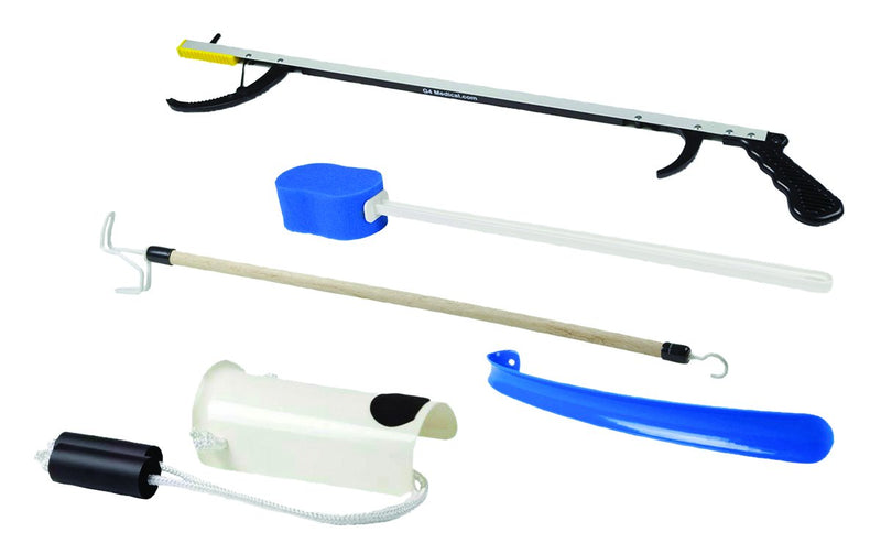 "FabLife Hip Kit: 32"" reacher, contoured sponge, formed sock aid, 18"" plastic shoehorn, 24"" dressing stick"