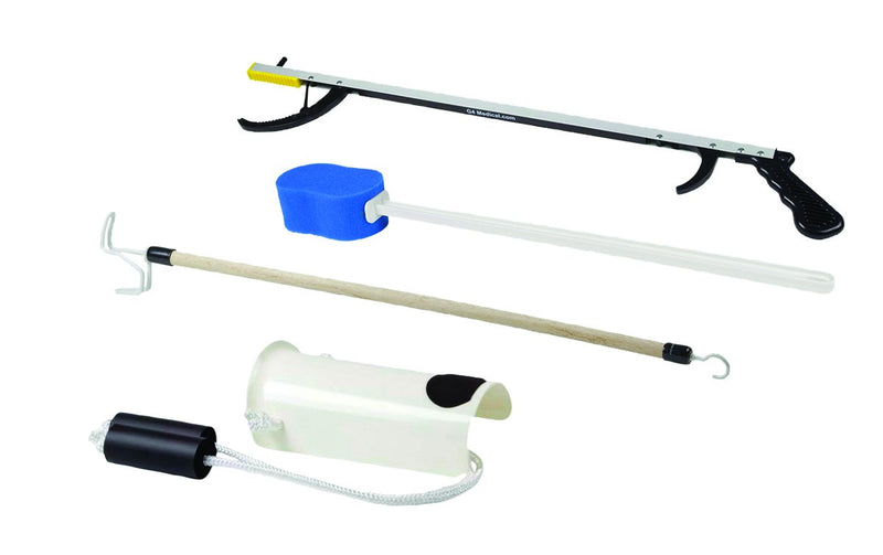 "FabLife Hip Kit: 26"" reacher, contoured sponge, formed sock aid, 24"" dressing stick"