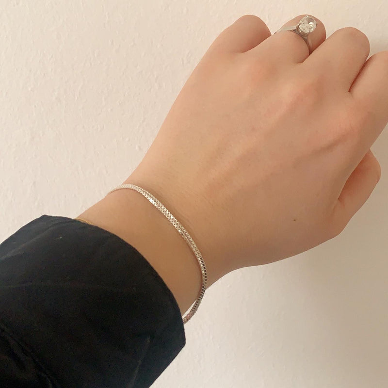 The Darcie box chain bracelet- Sterling Silver