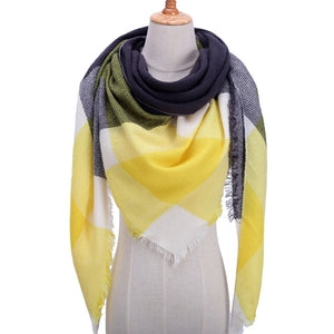 Designer knitted Fall Winter scarf plaid warm cashmere scarves shawls - SHIMOH