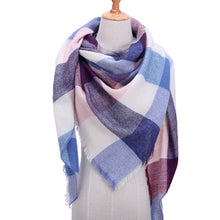 Load image into Gallery viewer, Designer knitted Fall Winter scarf plaid warm cashmere scarves shawls - SHIMOH