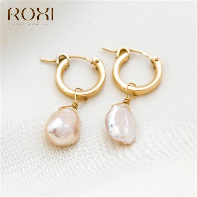 ROXI Natural Freshwater Pearl Earrings Vintage Baroque Pearl Stud Earrings - SHIMOH