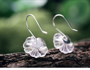 Silver Crystal Flower in the Rain Earrings - SHIMOH