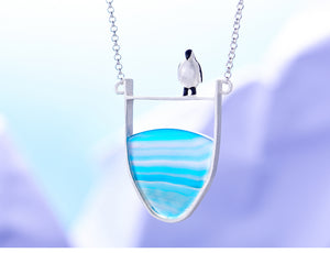 Lotus Fun Real 925 Sterling Silver Natural Agate Lovely Penguin Necklace with Pendant - SHIMOH