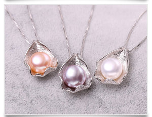 FENASY 925 Sterling Silver Shell Design Natural Freshwater Pearl Necklace - SHIMOH