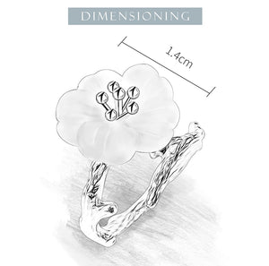 Lotus Fun Real 925 Sterling Silver crystal Flower in the Rain Adjustable Ring - SHIMOH