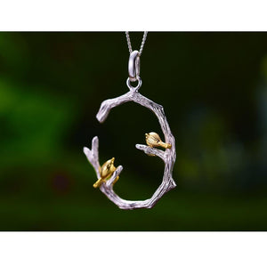 Bird on Branch Pendant without chain - SHIMOH