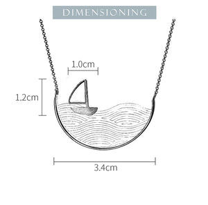 Lotus Fun Real 925 Sterling Silver Handmade Gold Sailboat Necklace - SHIMOH