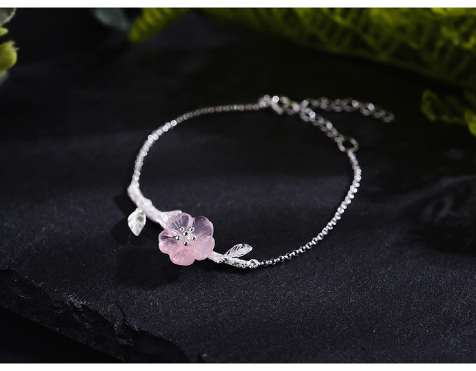 Silver Natural Crystal Flower in the Rain Bracelet - SHIMOH