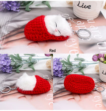 Load image into Gallery viewer, Cute Sleeping Cat Pompom Key chains