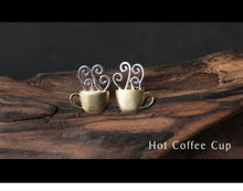 Load image into Gallery viewer, Lotus Fun Real 925 Sterling Silver Creative Handmade Hot Coffee Cup Stud Earrings - SHIMOH