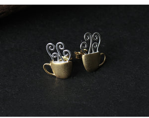 Lotus Fun Real 925 Sterling Silver Creative Handmade Hot Coffee Cup Stud Earrings - SHIMOH