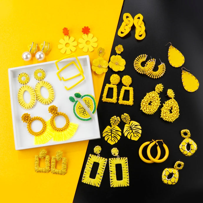 AENSOA Korean Yellow Drop Earrings - SHIMOH