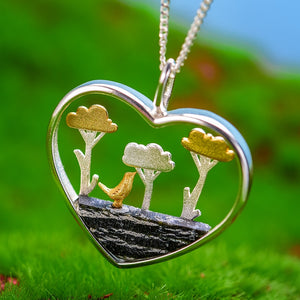 Lotus Fun Real 925 Sterling Silver Handmade Planting Trees of Clouds Pendant without Necklace - SHIMOH