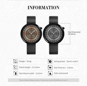 SK Women Full Steel Mesh Strap Waterproof Watches