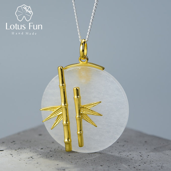 Lotus Fun 925 Sterling Silver Handmade Bamboo Pendant without Necklace - SHIMOH