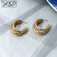 Load image into Gallery viewer, X&P Gold Drop Earrings - SHIMOH