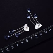 Load image into Gallery viewer, Lotus Fun 925 Sterling Silver with Crystal Gems  Drop Earrings - SHIMOH