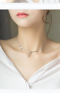 Thaya Water Drop S925 Sterling Silver Choker Necklace - SHIMOH