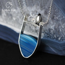 Load image into Gallery viewer, Lotus Fun Real 925 Sterling Silver Natural Agate Lovely Penguin Necklace with Pendant - SHIMOH