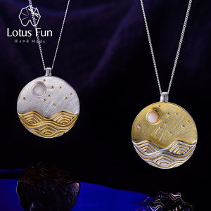 Lotus Fun Real 925 Sterling Silver The Moonlight Pendant without Chain - SHIMOH