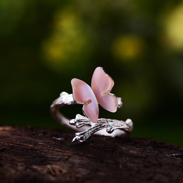 Lotus Fun Real 925 Sterling Silver Cute Butterfly on Branch Open Ring