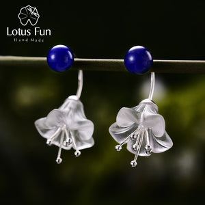 Lotus Fun Real 925 Sterling Silver Crystal Handmade Flower Drop Earrings LFJB0094 - SHIMOH