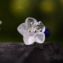 Load image into Gallery viewer, Lotus Fun Real 925 Sterling Silver Crystal Handmade Flower Drop Earrings LFJB0094 - SHIMOH