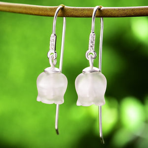 Silver Natural Crystal Bell Orchid Drop Earrings - SHIMOH