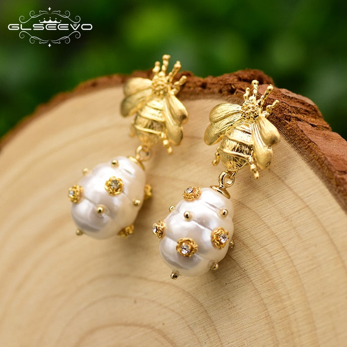 GLSEEVO Natural Shell Beads Bee Dangle Drop Earrings - SHIMOH