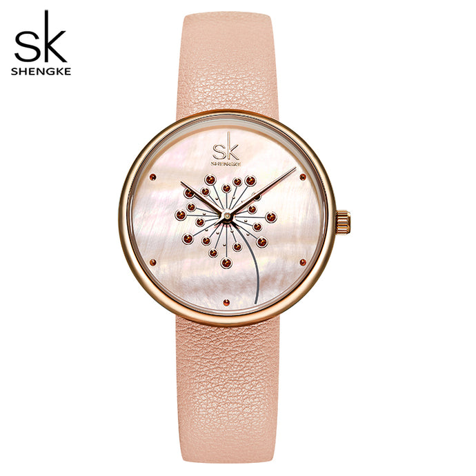 SK Casual 30M Waterproof Watch with Leather Strap