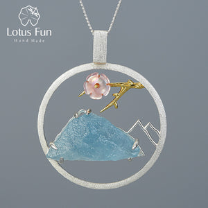 Lotus Fun Natural Raw Stone Real 925 Sterling Silver  Handmade Bird Whisper Pendant without Necklace - SHIMOH